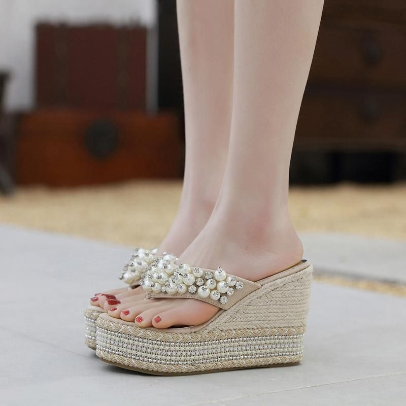 Sandals and slippers summer fashion new beach wild pearl crystal slope with thick bottom flip-flops high heels NHEH206292