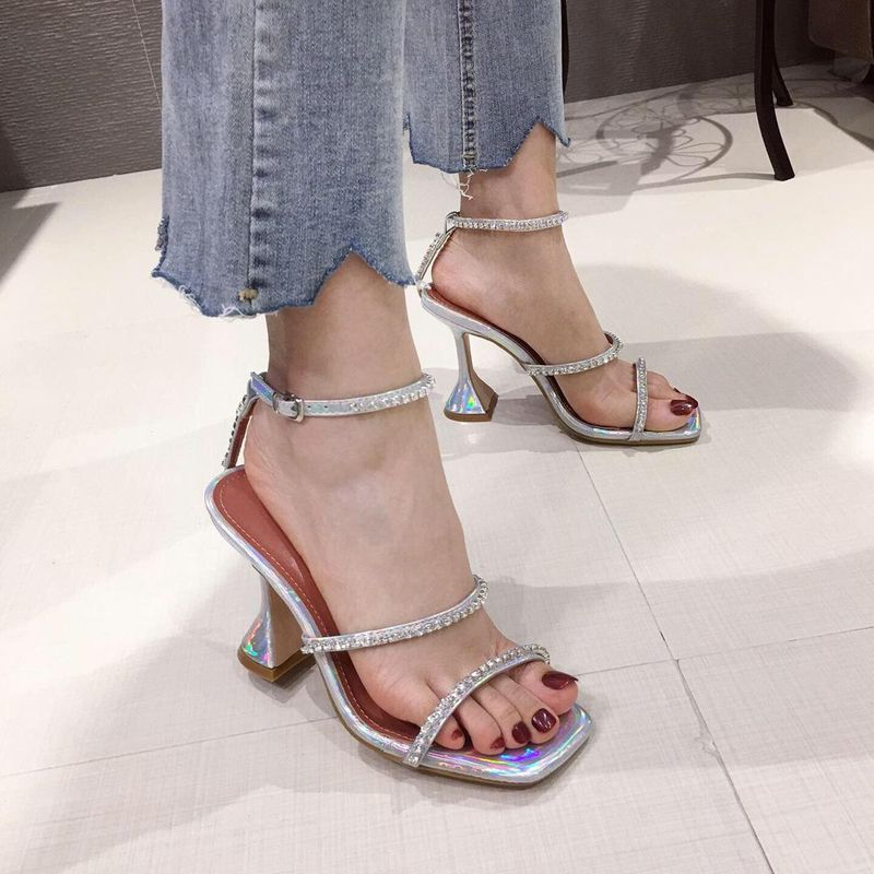 New women's shoes square head rhinestone straps high heel sandals fashion wine glasses sandals wholesale NHEH206293