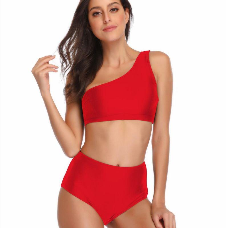 Wholesale Swimsuit One Shoulder Strap Sexy Lady Split Bikini Explosion Swimsuit NHHL206301