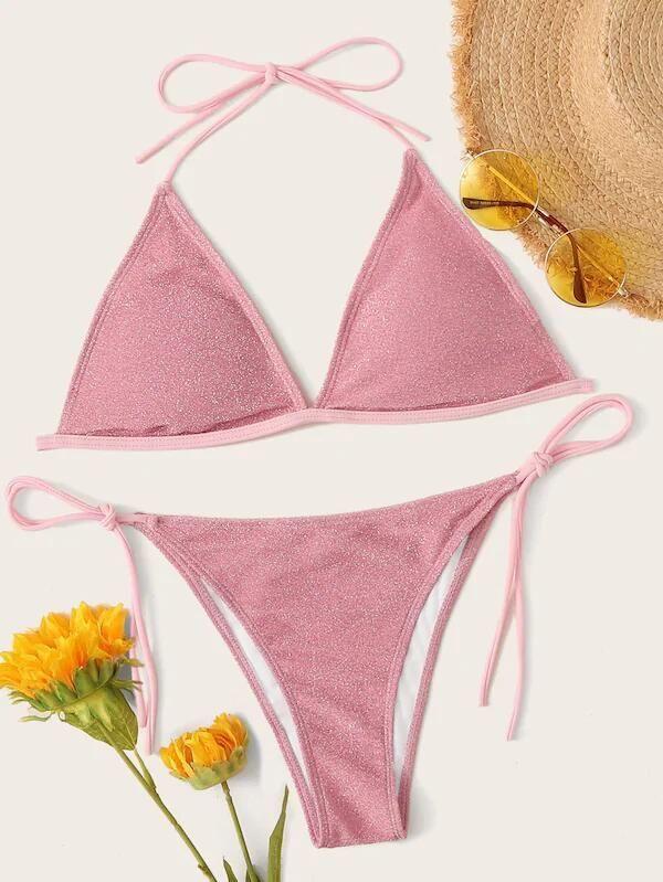New bikini sequin swimwear triangle bag lace up sexy swimwear NHHL206306