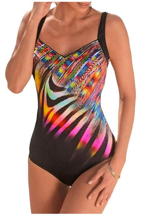 New EVALESS Ladies Sexy One Piece Colorful Tank Print One Piece Bikini Swimsuit NHHL206309