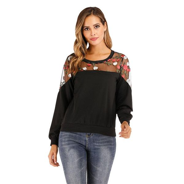 Spring and autumn lace bottoming shirt raglan sleeve stitching round neck sweater embroidery long sleeve shirt NHTI206353