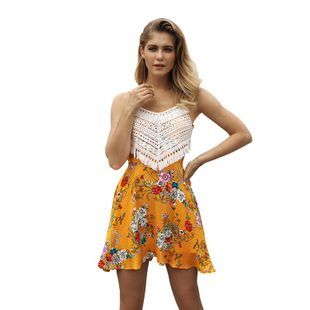 Summer new sexy strapless dress sleeveless printed skirt wholesale NHKA206367's discount tags