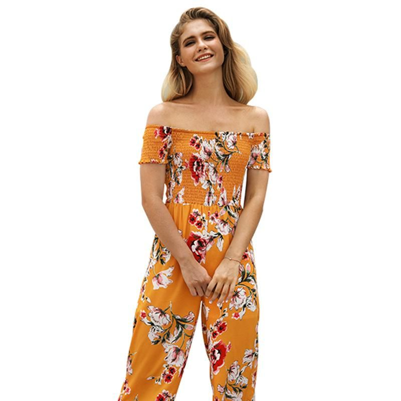 New printed strapless jumpsuit women's high waist wide leg cropped pants wholesale NHKA206368