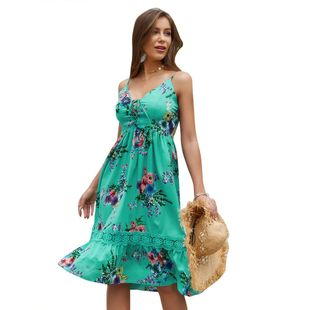 New summer fashion print sling V-neck dress wholesale NHKA206371's discount tags
