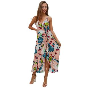 Summer new fashion halter print mid-length dress wholesale NHKA206374's discount tags