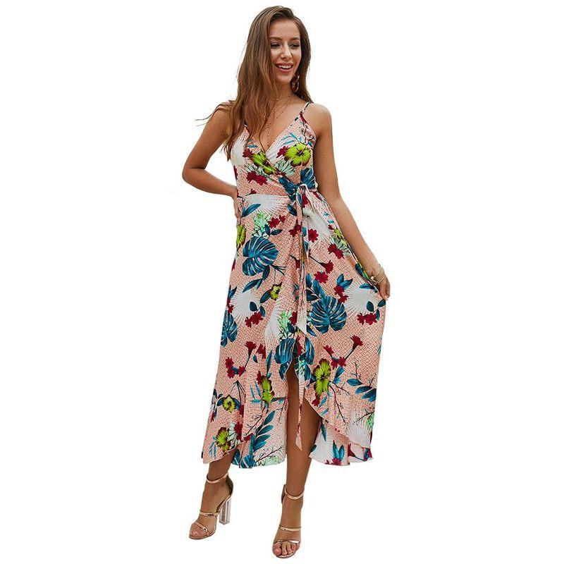 Summer new fashion halter print mid-length dress wholesale NHKA206374