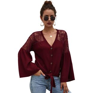 Spring New Fashion Women's Long Sleeve Solid Color Knitwear Wholesale NHKA206380's discount tags