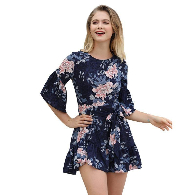 New fashion ruffled hem skirt in sleeves printed dress women wholesale NHKA206394