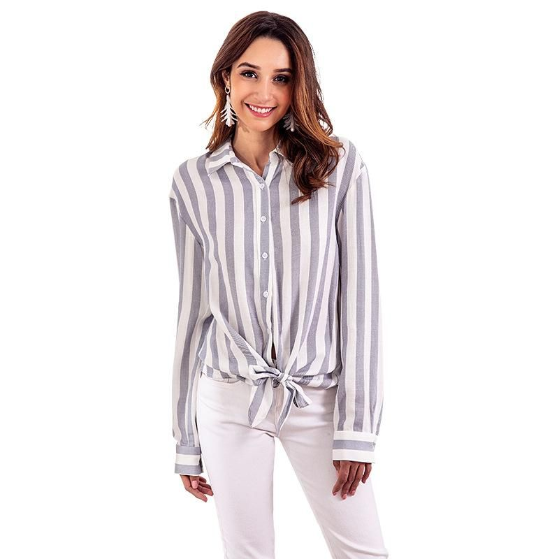 New Striped Blouse Casual Button Long Sleeve Fashion Bow Top NHKA206395