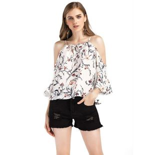 New fashion printed chiffon tops for women wholesale NHKA206396's discount tags