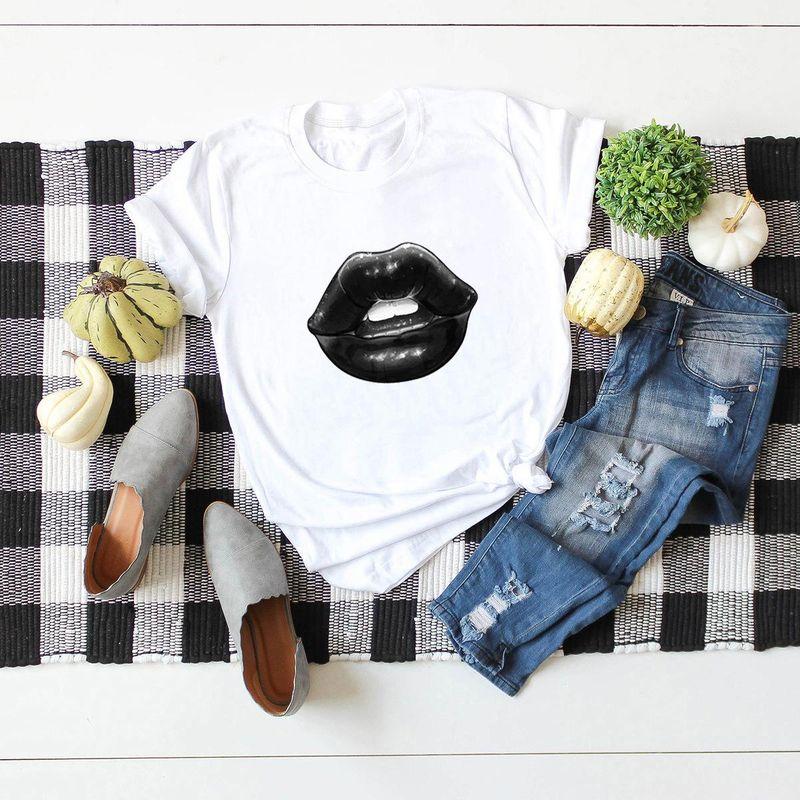 Summer new simple short-sleeved cotton t-shirt blouse sexy lips T-shirt NHSN206406