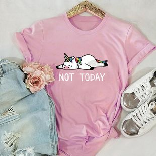 New NOT TODAY Unicorn Cotton Short Sleeve Women's T-Shirt NHSN206409's discount tags