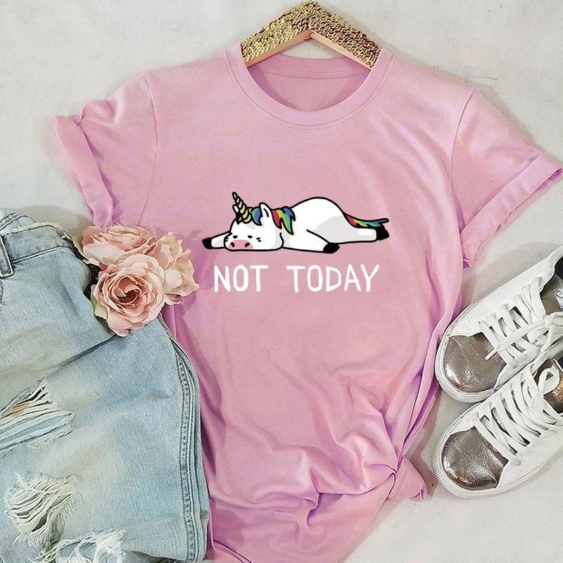 New NOT TODAY Unicorn Cotton Short Sleeve Women's T-Shirt NHSN206409