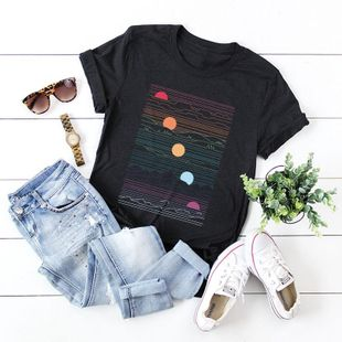 New Wholesale Geometric Tops Women's T-Shirt Summer Cotton Short Sleeve NHSN206410's discount tags