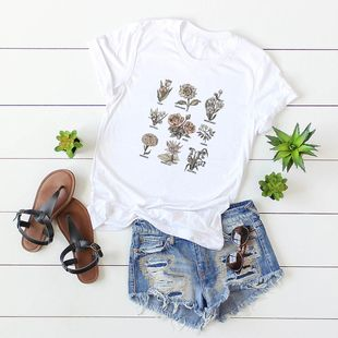New explosion models short sleeve flower cartoon solid color female T casual T-shirt wholesale NHSN206416's discount tags