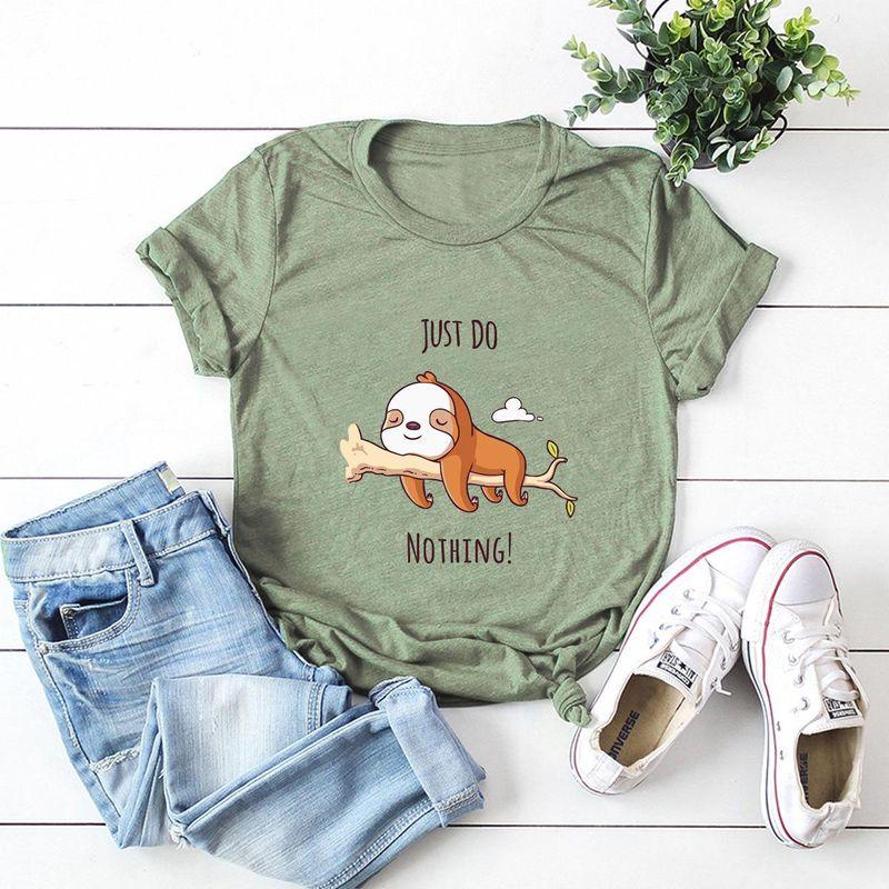 New cute fun lazy dog cotton short sleeve women's T-shirt NHSN206418