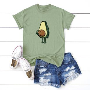 New fun spoof avocado short sleeve women T comfortable casual T-shirt NHSN206420's discount tags