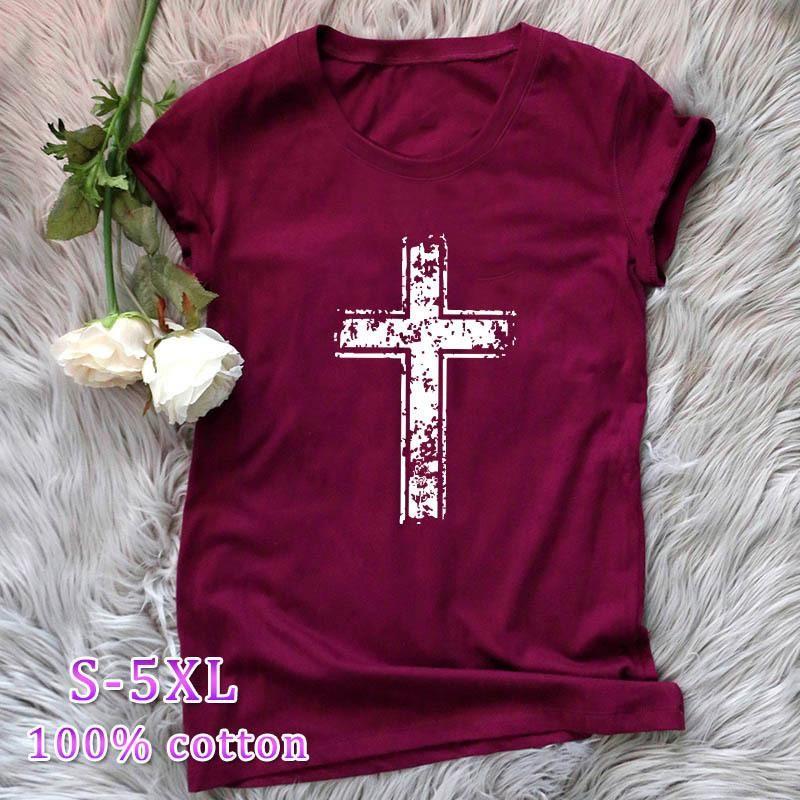New Fashion Cross Cotton Short Sleeve Women's T-Shirt Wholesale NHSN206424
