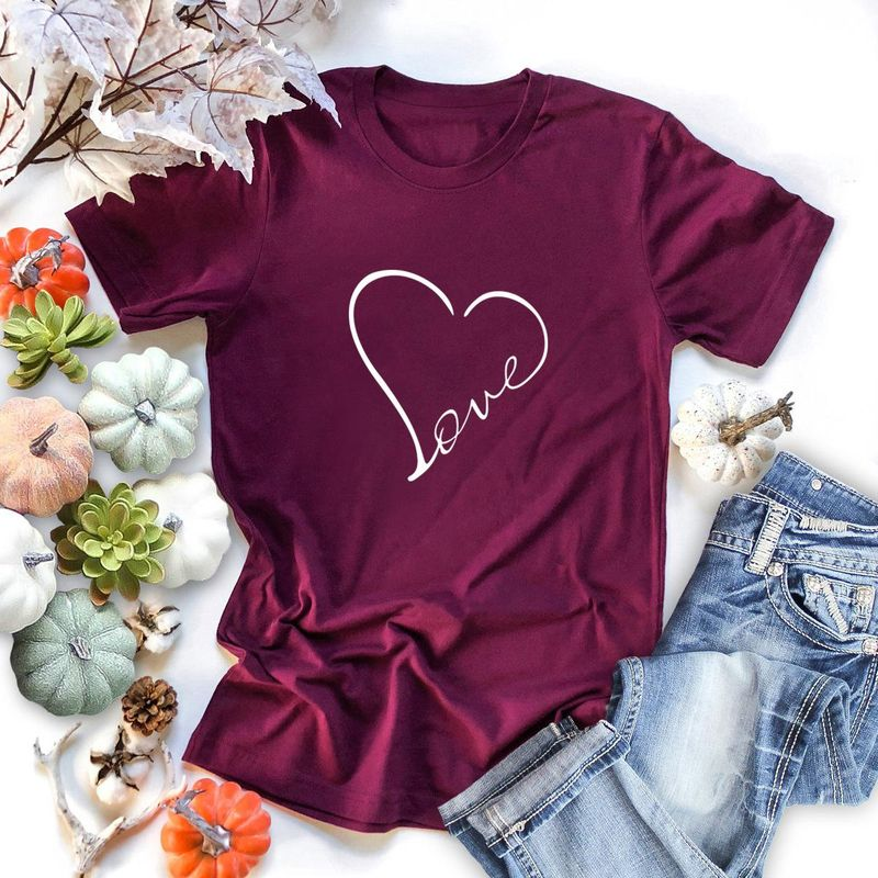 New simple women's heart-shaped love printed short-sleeved T-shirt blouse wholesale NHSN206425