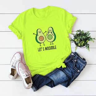 New lets avocuddle avocado cotton women's T-shirt top NHSN206430's discount tags