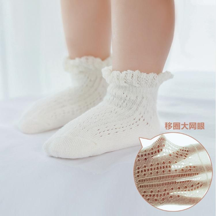 Summer thin section children's cotton socks wholesale loose mouth transfer lace baby socks hollow non-slip baby socks NHER206435