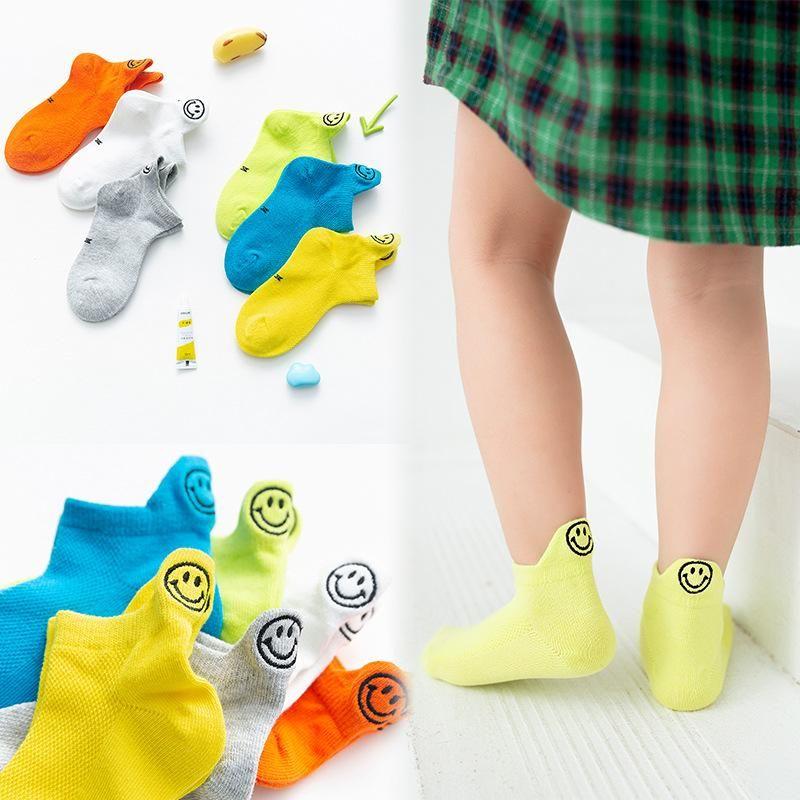 Children's short cotton socks spring new fluorescent smile face embroidery children socks breathable children boat socks NHER206438