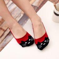 Calcetines de algodón para mujer gato lindo invisible boca baja calcetines para mujer nuevos calcetines de algodón 100 calcetines cortos de torre al por mayor NHER206446