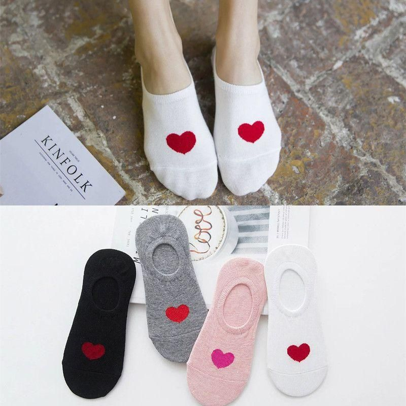 Women39s cotton socks wholesale spring and summer new love female boat socks silicone antishedding shallow socks NHER206447