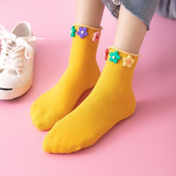 Flower socks four seasons candy-colored tube cotton socks trend of wild casual socks NHER206453