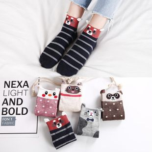 Spring casual female cotton socks wholesale stereo ears cartoon female socks cute color matching casual socks NHER206457's discount tags
