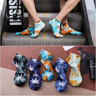 Spring and summer new men's boat socks wholesale tide socks men hip hop sports maple socks NHER206462's discount tags