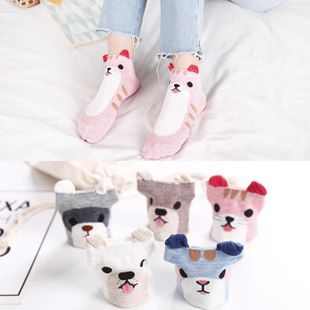 Cartoon female cotton socks wholesale spring stereo cartoon female socks wild fresh casual low-top socks NHER206463's discount tags