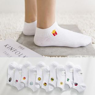 Double needle cotton socks embroidered female socks cartoon embroidered cotton socks wild classic white female socks socks NHER206464's discount tags