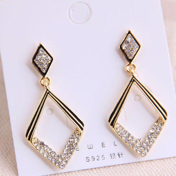 925 Silver Needle Korean Fashion Sweet OL Classic Geometric Diamond Flash Earrings Yiwu Wholesale NHSC206646