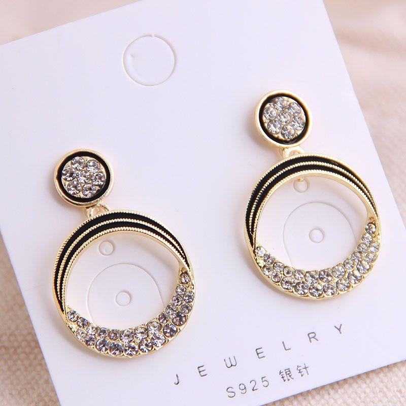 925 Silver Needle Korean Fashion Sweet OL Classic Simple Flash Diamond Earrings Yiwu Wholesale NHSC206644