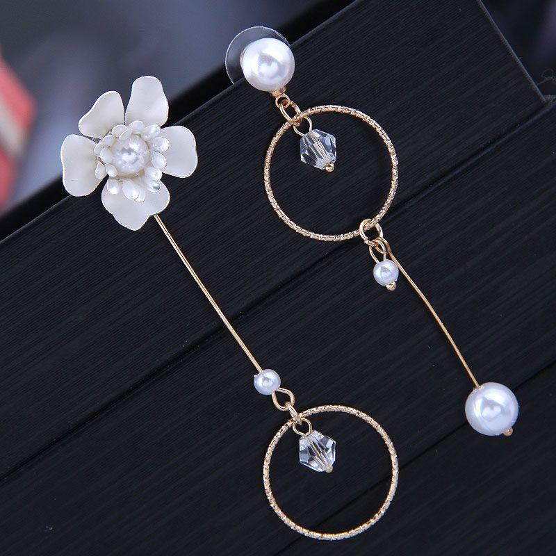 Korean fashion sweet ol rich flowers simple circle asymmetric earrings Yiwu wholesale NHSC206643