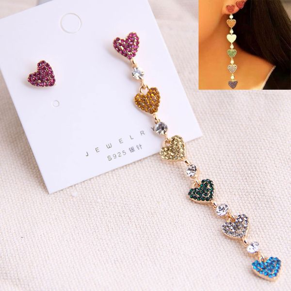 925 Silver Needle Korean Fashion Sweet OL Simple Flash Diamond Color Love Earrings Yiwu Wholesale NHSC206641