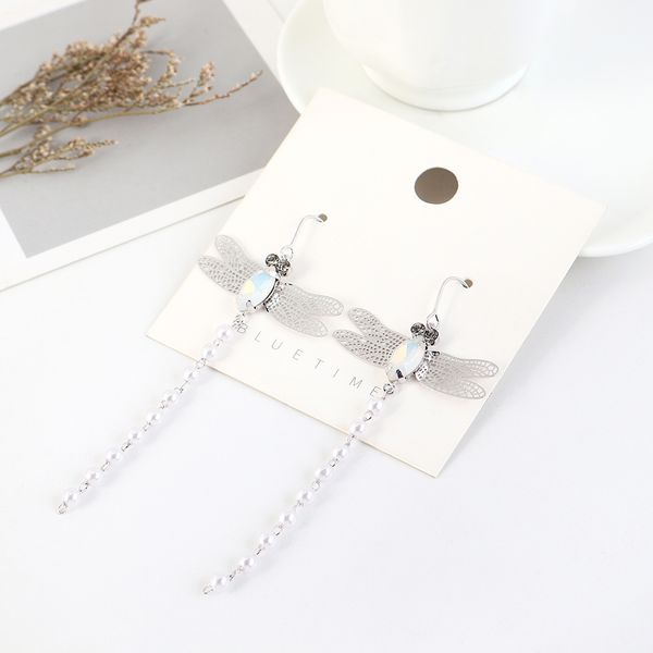 Korean new fashion gold plated tassel dragonfly pearl earrings yiwu nihaojewelry wholesale NHPS208057