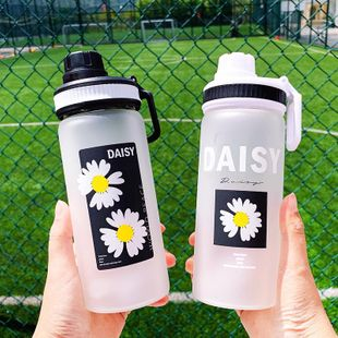 Han simple daisy printing frosted glass water cup portable handle student sports cup large capacity cup NHtn208078's discount tags