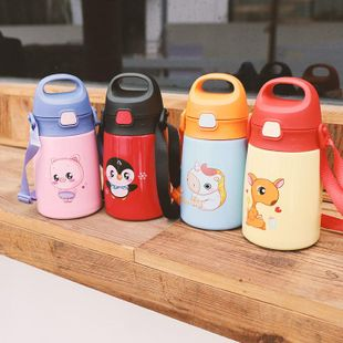 Simple cartoon stainless steel vacuum flask cute child with straw drinking cup NHtn208081's discount tags