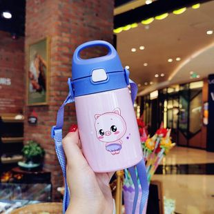 Cute piggy stainless steel mug baby strap portable cartoon animal water cup NHtn208082's discount tags