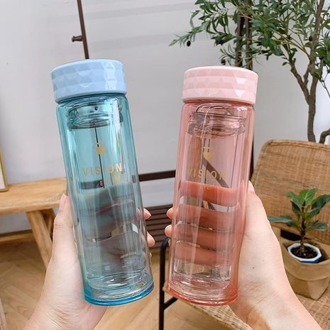 Fashion transparent creative double glass anti-scald cup wholesale NHtn208086's discount tags