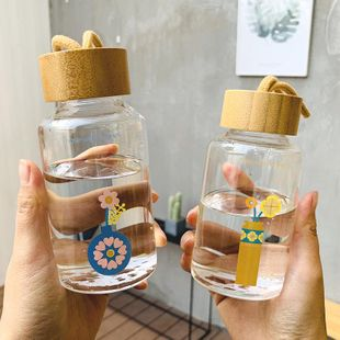New fashion literary wood grain flower fun glass simple and fresh portable water cup NHtn208093's discount tags