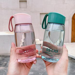 Simple handy cup portable water cup plastic cup drop resistant transparent English printed sports water cup NHtn208101's discount tags