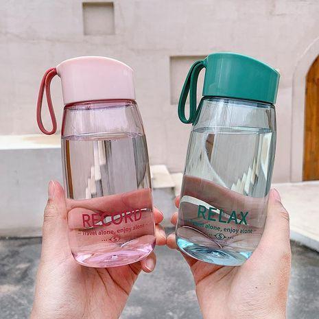 Taza práctica y sencilla taza de agua portátil taza de plástico resistente a la caída taza de agua deportiva impresa en inglés transparente NHtn208101's discount tags