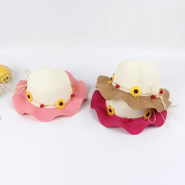 Baby hat summer thin section baby beach hat cute super cute breathable straw hat wholesale NHTQ208116