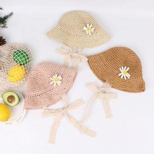 Smiley Sun Flower Lace Windproof Handmade Straw Hat Children Hat Cute Sunscreen Sun Hat Baby Sun Hat NHTQ208121's discount tags