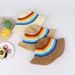 Korean new rainbow big eaves sun hat children's outdoor color matching hand hook straw hat wholesale NHTQ208124's discount tags