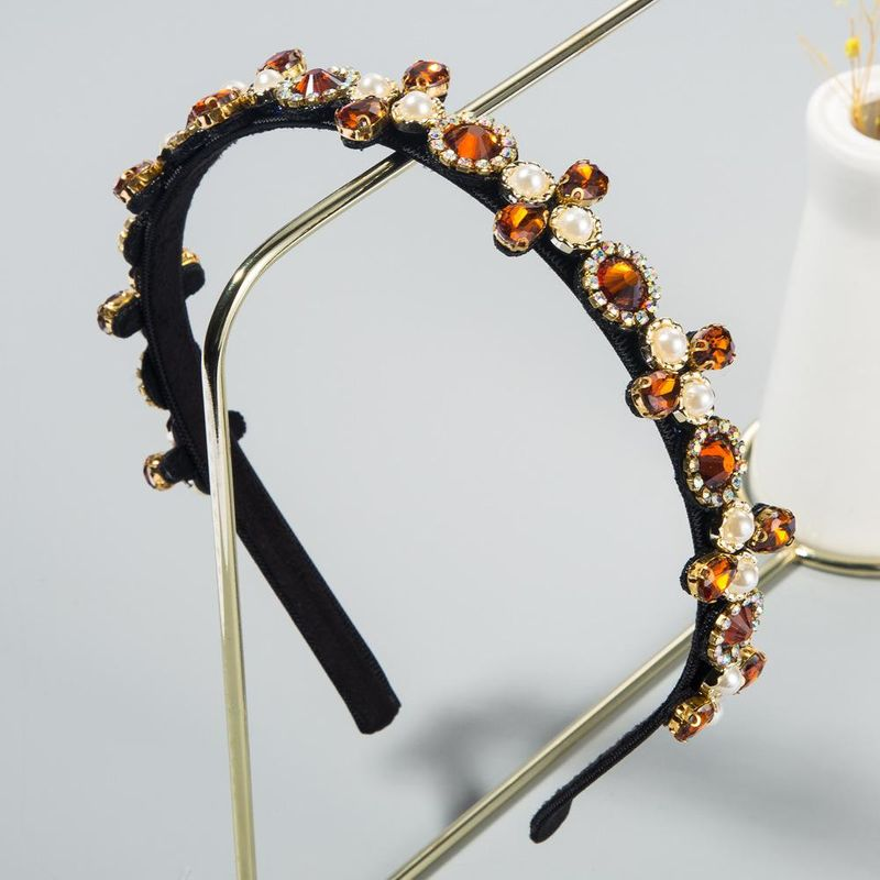 New fashion thin-edged headband with rhinestone pearl cheap headband wholesale NHLN208133